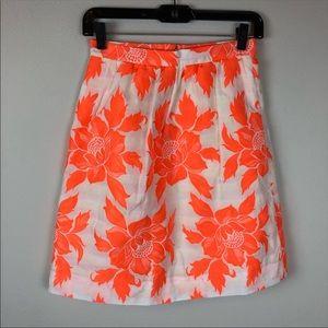 SOLD ❗️J Crew Flower Skirt Neon Orange White